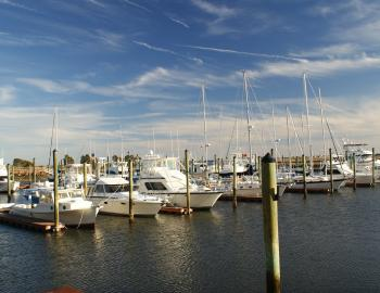 A marina with boats