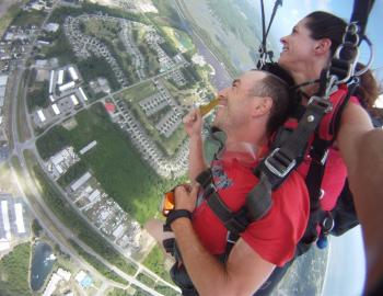 Couple skydiving in North Carolina