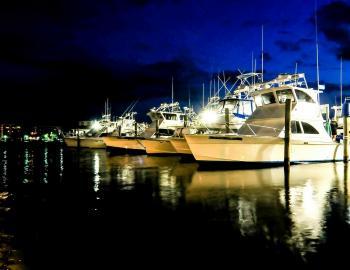 Boats docked outside the Marina