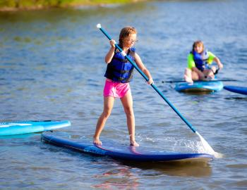 Family on Stand Up Paddleboards