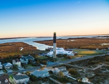Ariel view of the Oak Island Lighthouse
