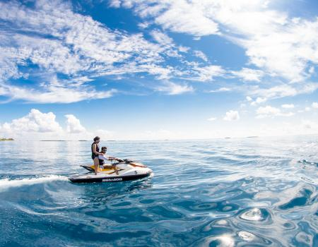 People on a jet ski in the water