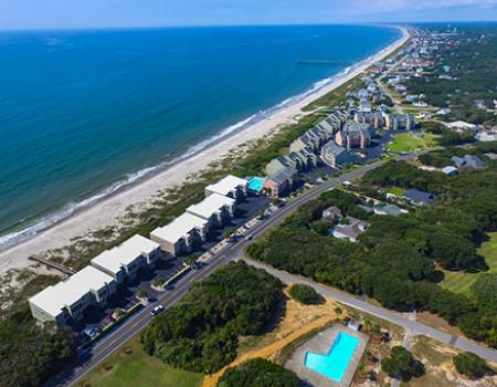 Ariel view of the communities in Oak Island, NC