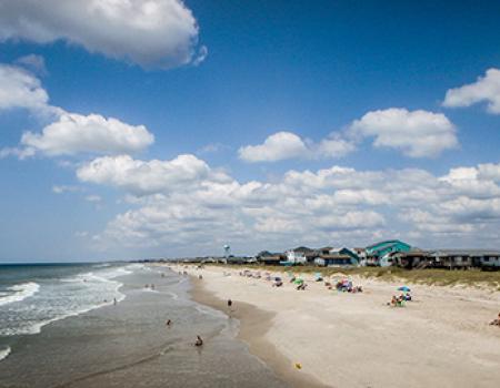 Public beach on Oak Island, NC