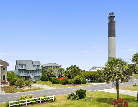 View of the lighthouse from an Oak Island vacation home