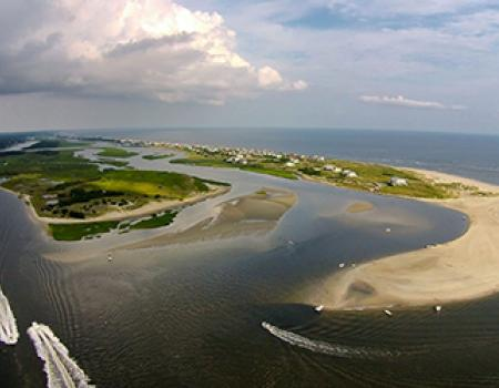 Ariel shot of West Beach at Oak Island