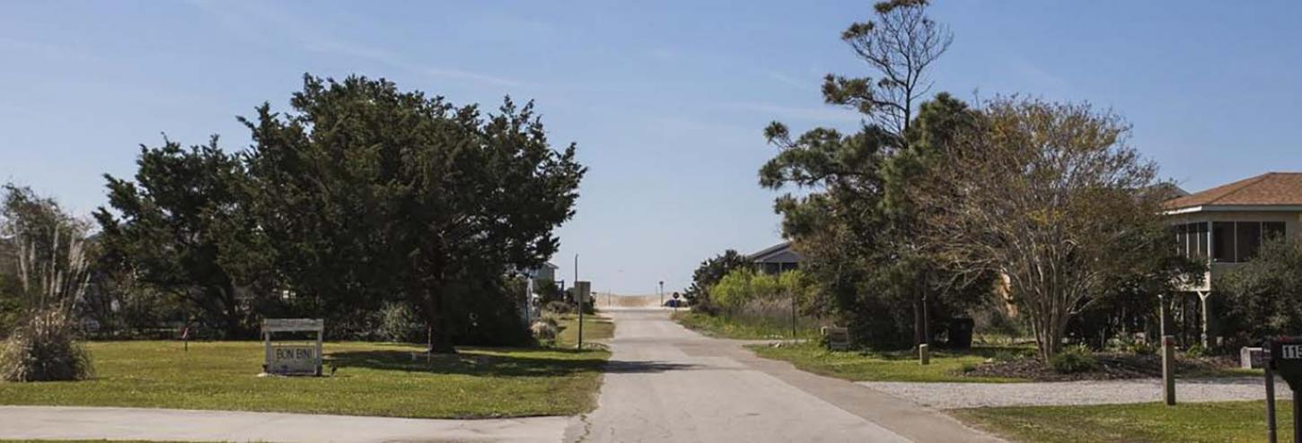 View of the road to the beach from an Oak Island Rental