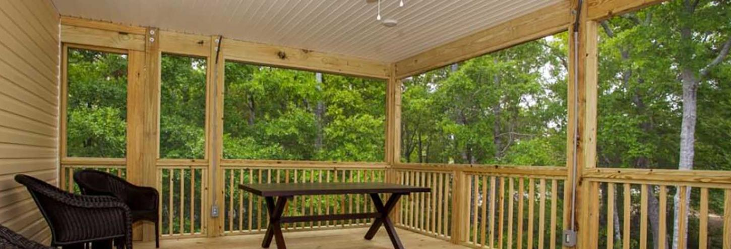 Covered porch on a Oak Island vacation rental