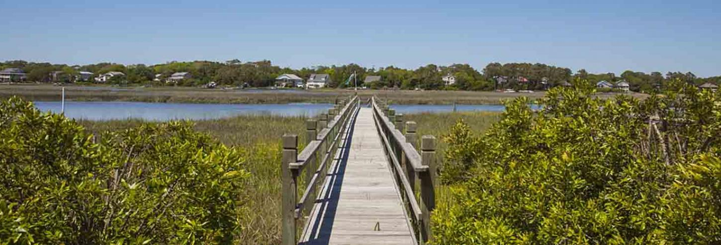 Pathway to the canal on Oak Island, NC