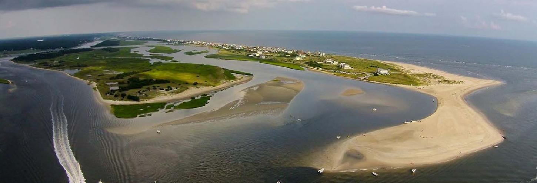 Ariel shot of West Beach at Oak Island