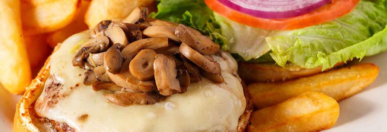 Mushroom swiss patty melt sandwich