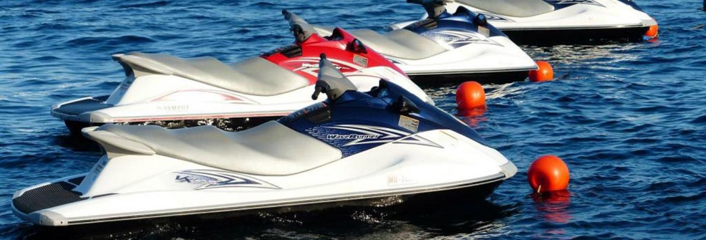 Jet skis ready to ride on the water in North Carolina