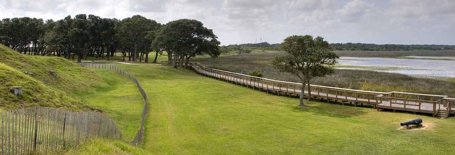 Fort Fisher Historical site on a blue day