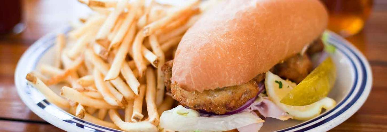 Fried Po Boy sandwich with french fries