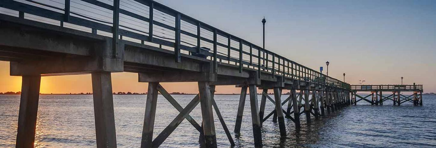 The Southport Pier at sunset in North Carolina