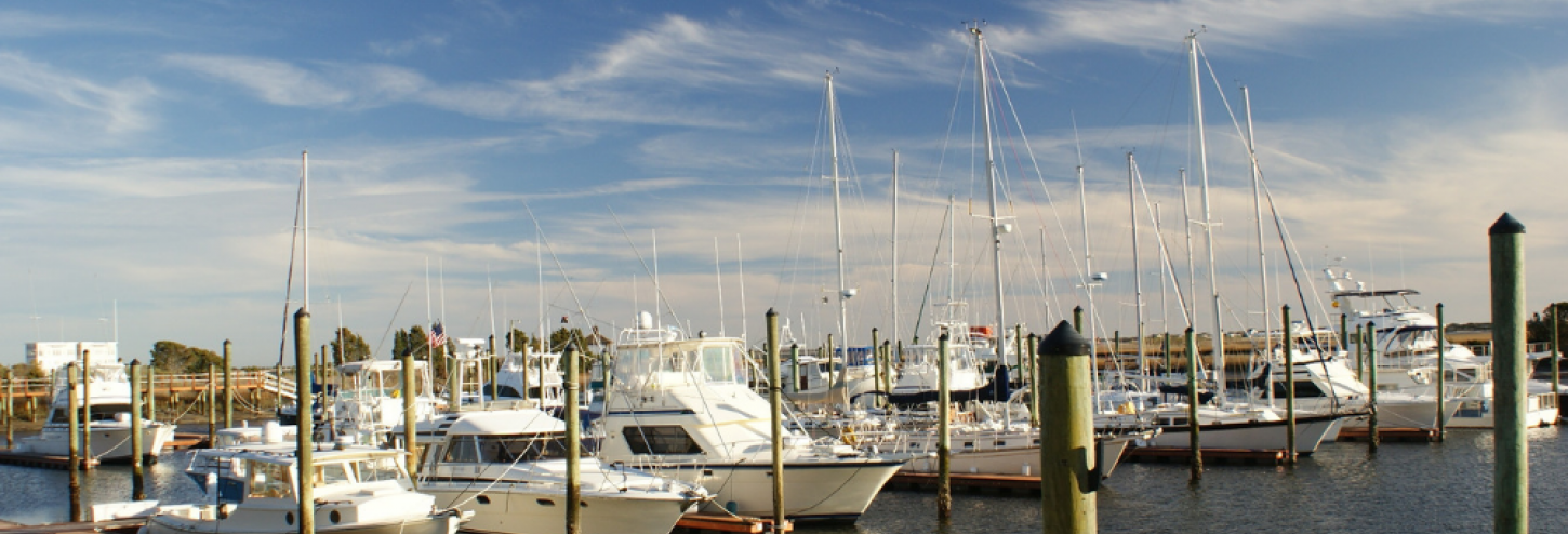 Waterfront marina with boats stationed outside