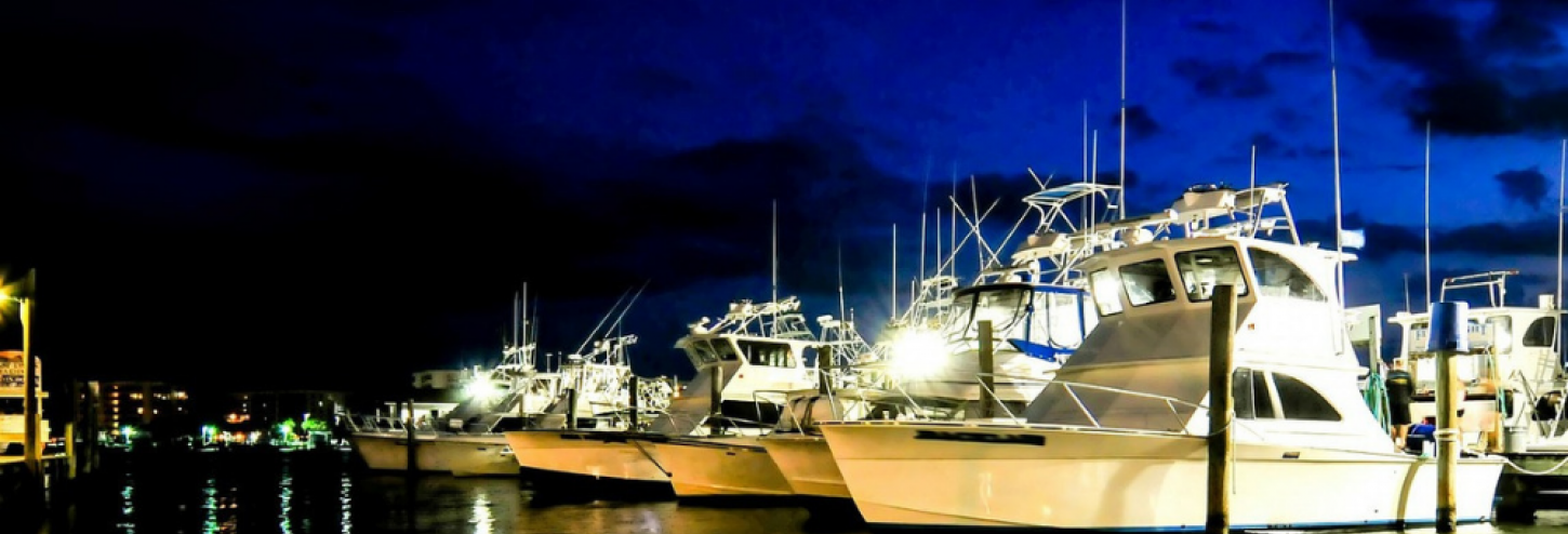 Boats at the marina at nighttime