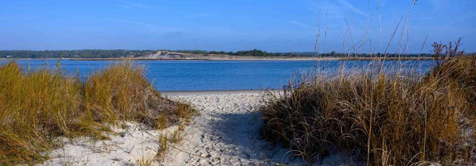 Sandy path to the beach on Oak Island