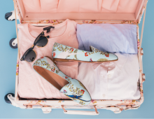 Shoes and clothes in a suitcase ready for a vacation