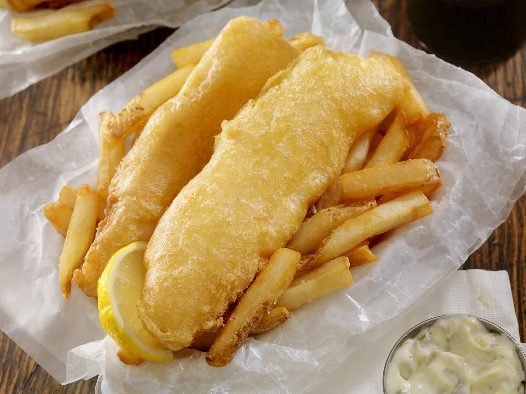 Deep fried fish and fries basket