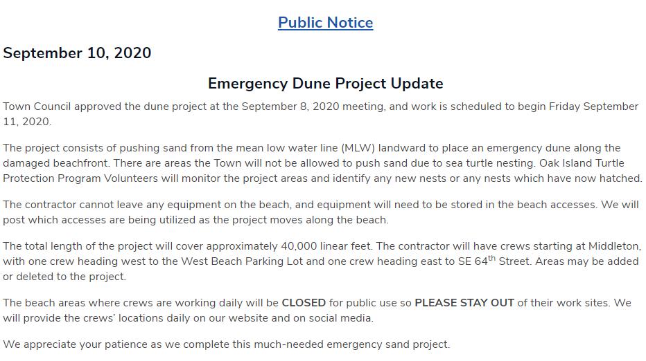 Town of Oak Island Public Notice on Emergency Dune Project