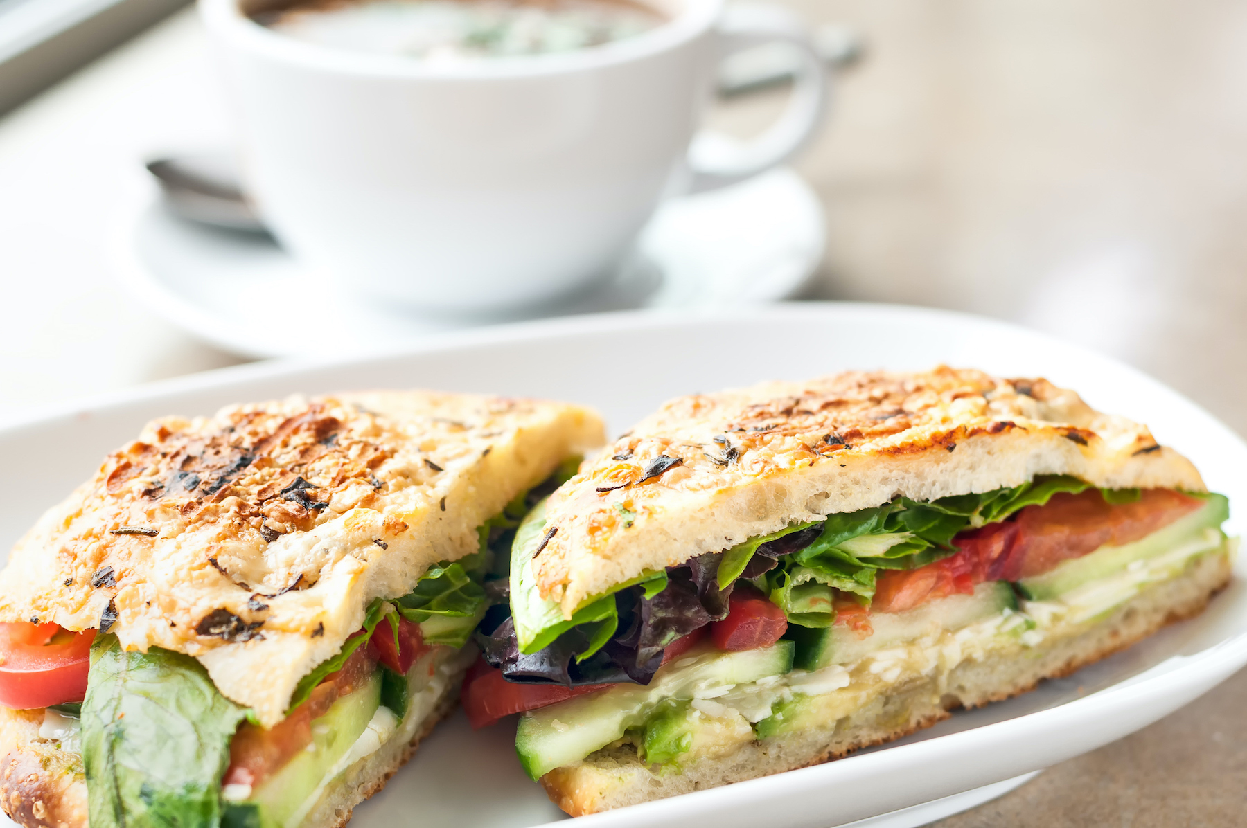 Cucumber Tomato Sandwich with Soup