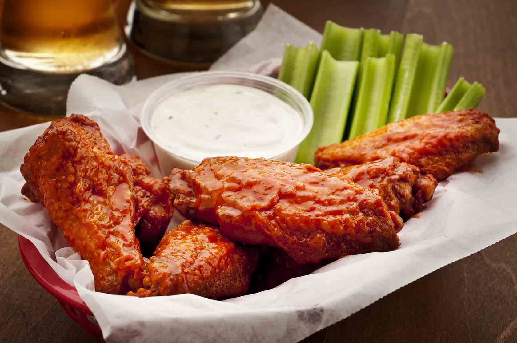 Buffalo wings and celery sticks