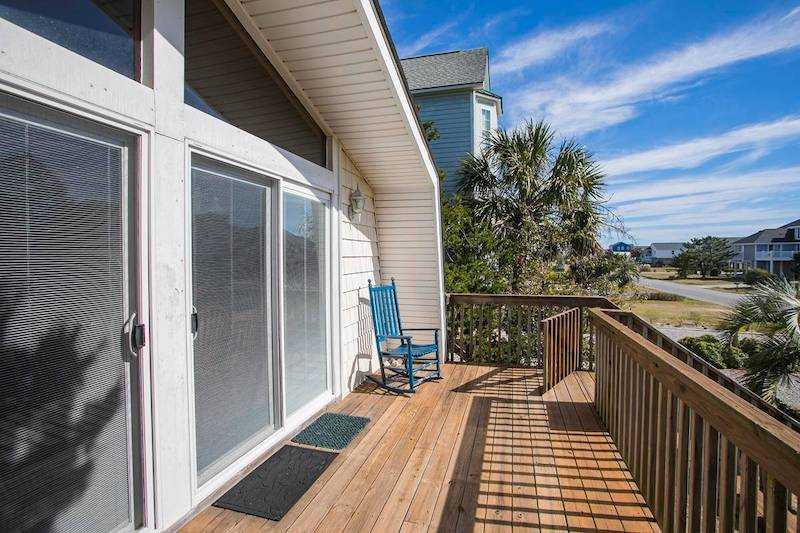A patio of an Oak Island vacation rental