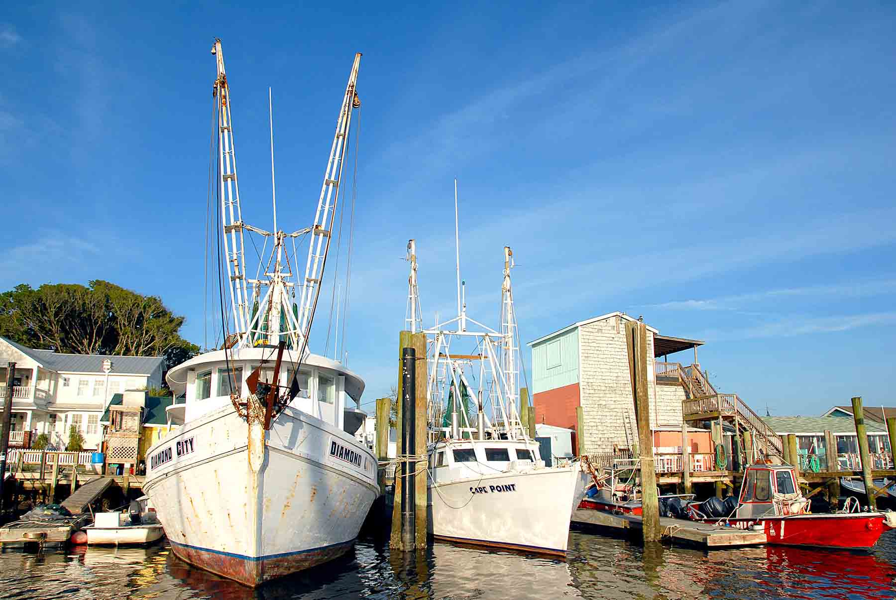 Shrimp fishing boats in Southport, NC